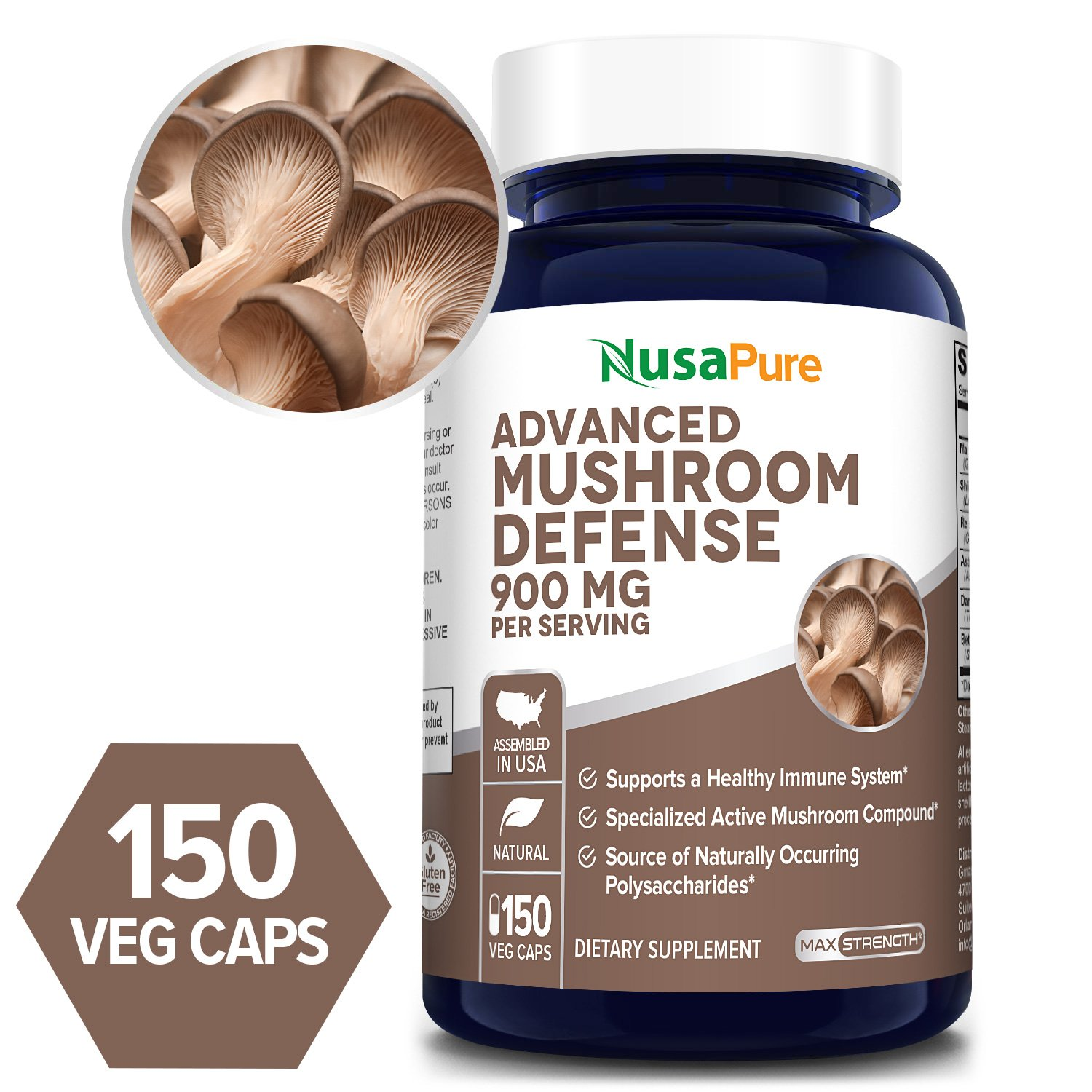 Advanced Mushroom Defense 900 mg - 150 Veg Caps (100 % Vegetarian, Non-GMO & Gluten-free)