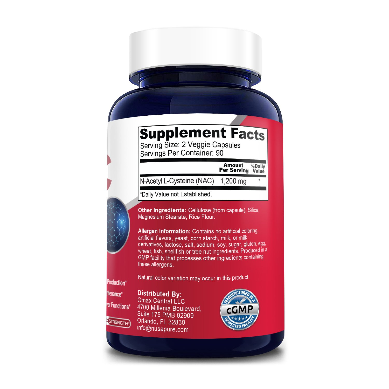 N-Acetyl Cysteine (NAC) 1200 mg - 180 Veg Caps (100% Vegetarian, Non-GMO & Gluten-free)