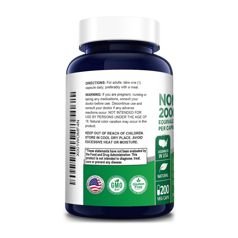 Noni Fruit 2000 mg - 200 Veg Caps (100% Vegetarian, Non-GMO & Gluten-free)