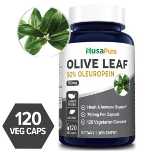 Olive Leaf 50% Oleuropein 750 mg - 120 Veg Caps (100% Vegetarian, Non-GMO, Gluten-free)