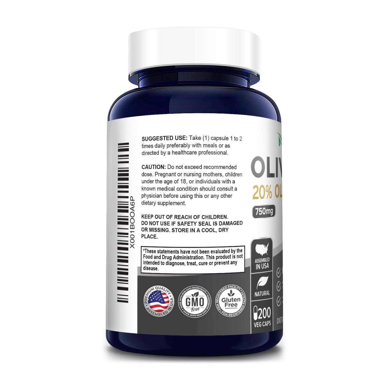 Olive Leaf 20% Oleuropein -  200 Veg Caps (100% Vegetarian, Non-GMO & Gluten-free)