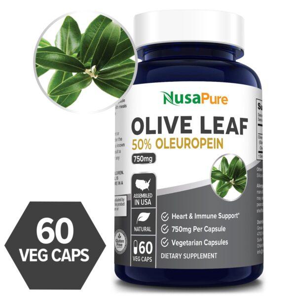 Olive Leaf Extract 50% Oleuropein- 60 Veg Caps (100% Vegetarian, Non-GMO, Gluten-free)