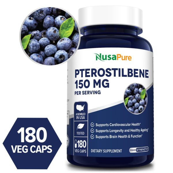 Pterostilbene 150 mg  - 180 Veg Caps (100% Vegetarian, Non-GMO & Gluten-free)