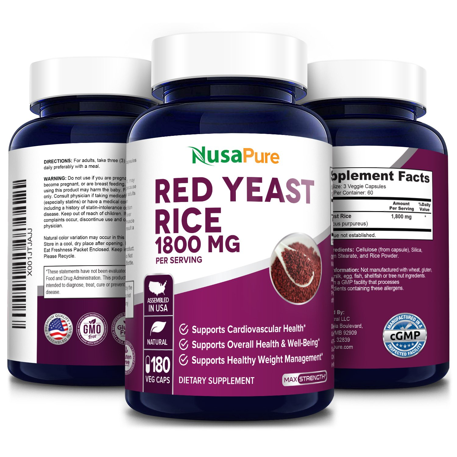 Red Yeast Rice 1800 mg - 180 Veg Caps(100% Vegetarian, Non-GMO & Gluten-free)