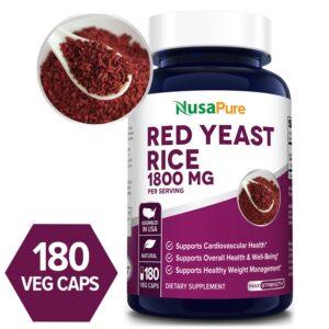 Red Yeast Rice 1800 mg - 180 Veg Caps(100% Vegetarian, Non-GMO & Gluten-free)