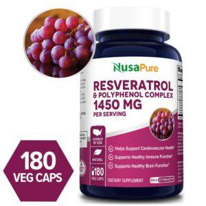 Resveratrol & Polyphenol Complex 1330 mg - 180 Veg Caps (100% Vegetarian, Non-GMO & Gluten-free)