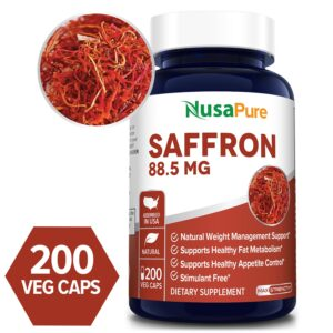 Saffron 88.5 mg- 200 Veg Caps (100% Vegetarian, Non-GMO & Gluten-free)