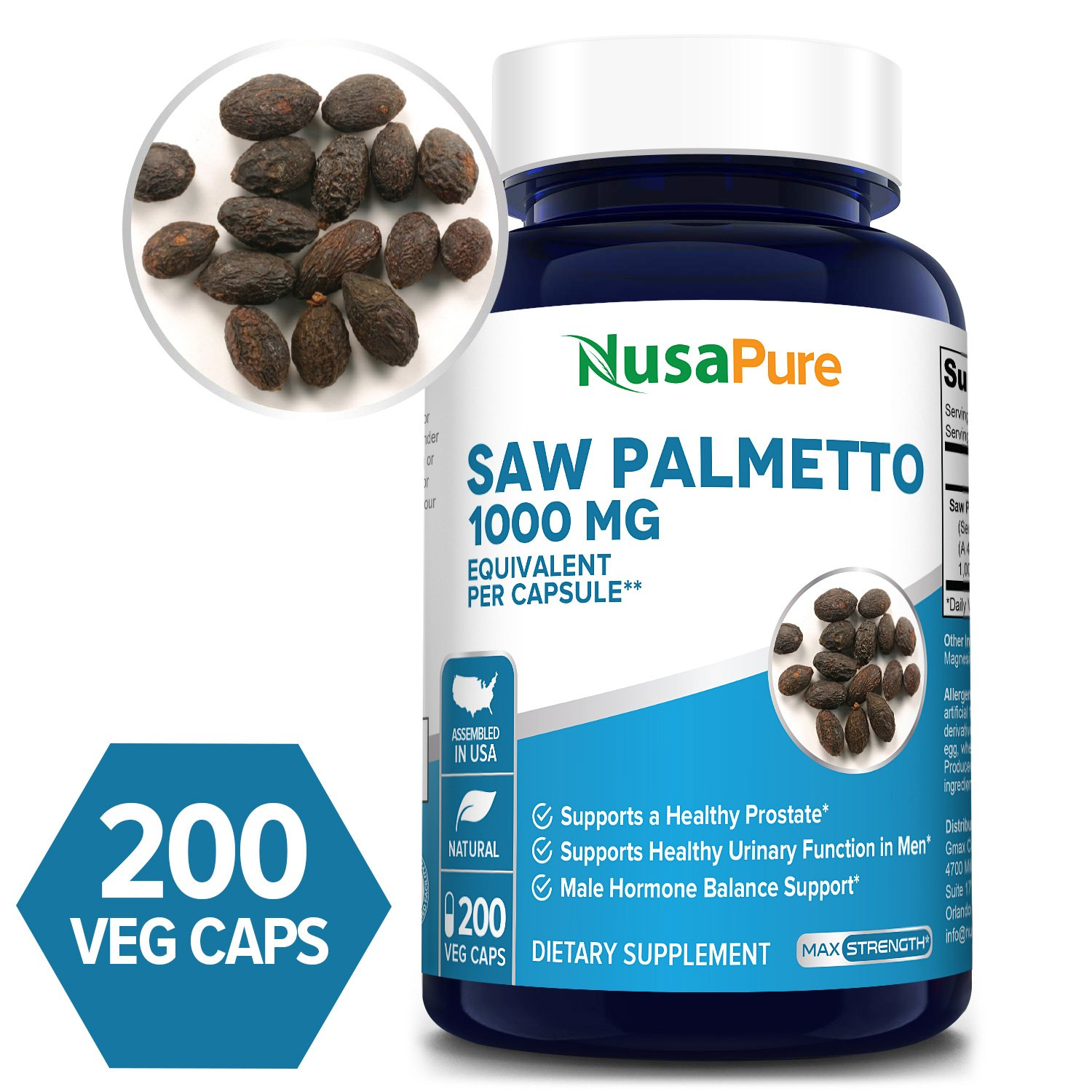 Saw Palmetto Extract 1000 mg- 200 Veg Caps (Non-GMO & Gluten-free)