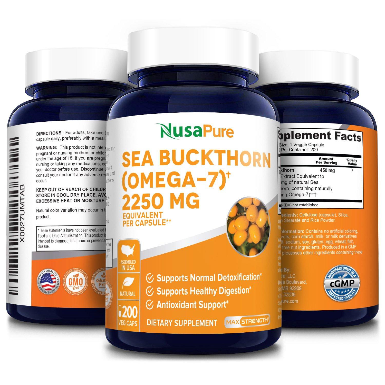 Sea Buckthorn (Omega 7) 2,250mg - 200 Veg Caps (100% Vegetarian, Non-GMO & Gluten-free)