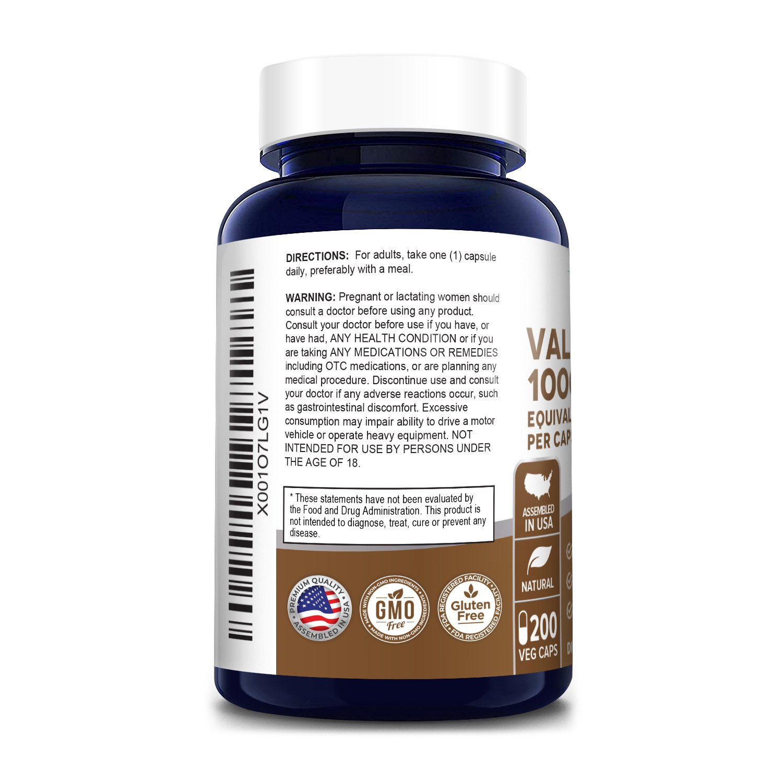 Valerian Root Extract 1000 mg - 200 Veg Caps ( Vegetarian, Non-GMO & Gluten-free)
