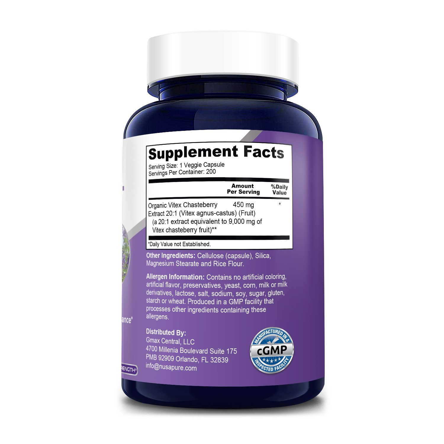 Vitex Fruit  9000 mg -200 Veg Caps (100% Vegetarian, Non-GMO, Gluten-Free) With Organic Vitex Chastberry