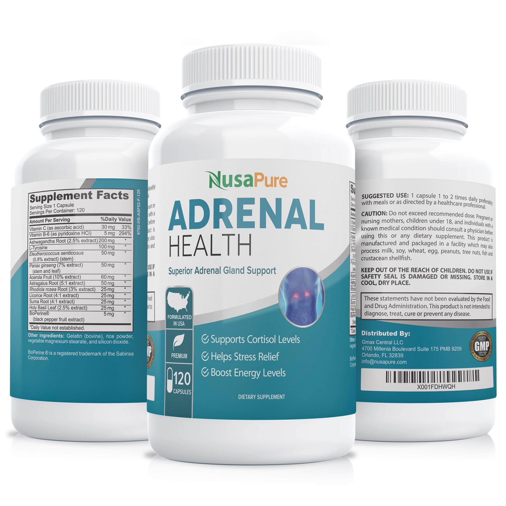 Adrenal Support with Bioperine- 120 capsules - With Ashwagandha Root, L-Tyrosine.