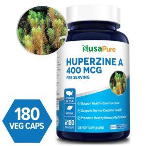 Huperzine A 400 mcg -  180 Veg Caps ( 100 % Vegetarian, Non-GMO & Gluten-free)