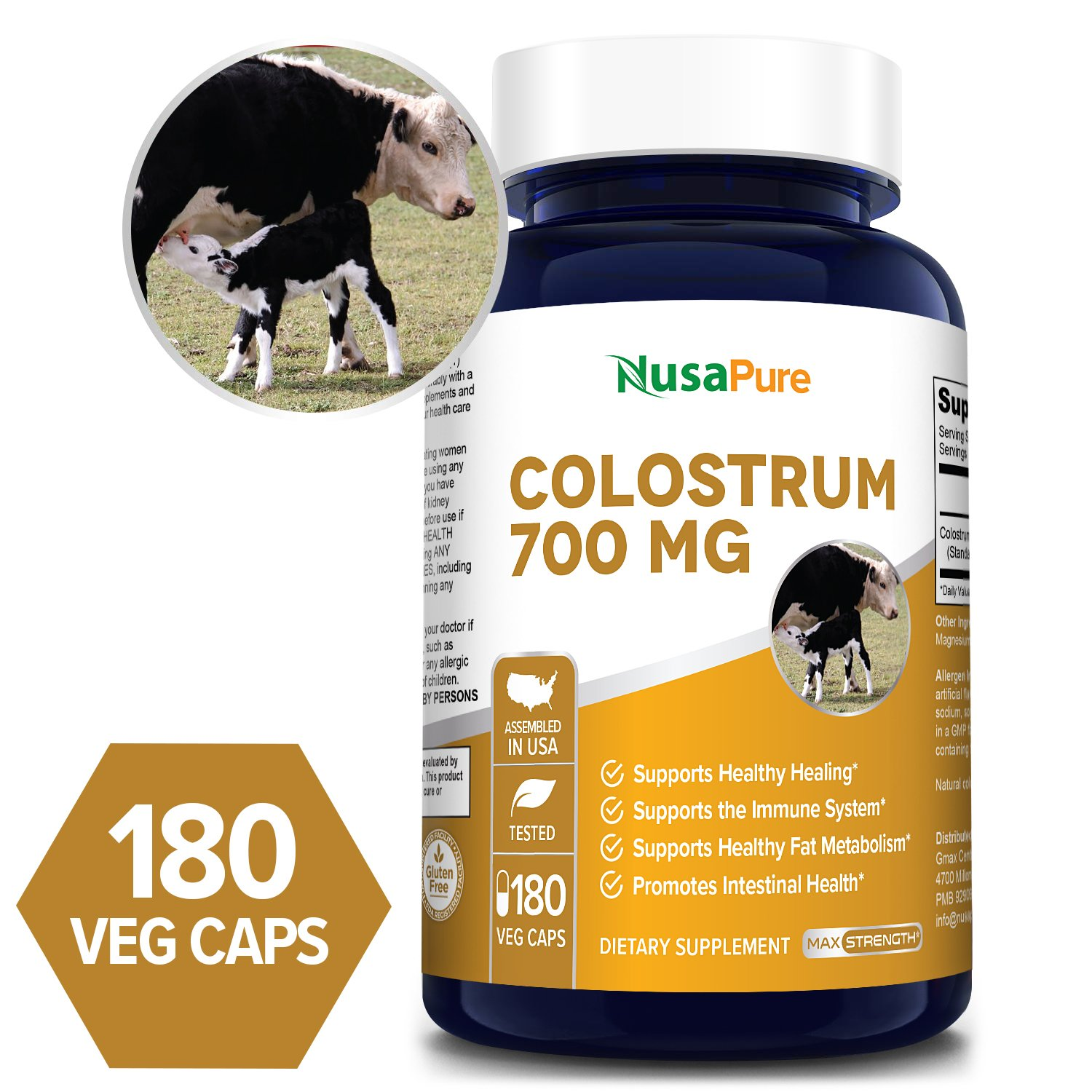 Colostrum 700 mg -180 Veg Caps (Vegetarian, Non-GMO & Gluten-free)