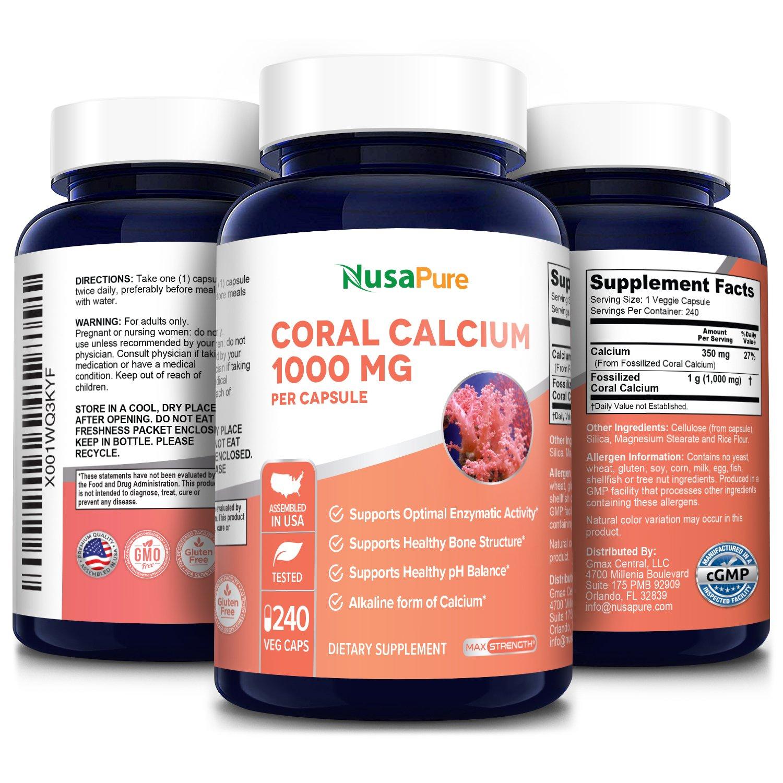 Coral Calcium 1000 mg - 240 Veg Caps (Non-GMO & Gluten-free) Ecologically friendly sourced