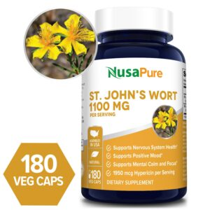 St. John's Wort 1100 mg- 180 Veg Caps (100% Vegetarian, Non-GMO & Gluten-free)