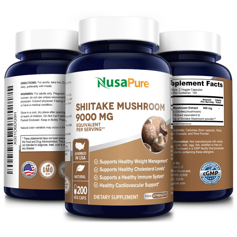 Shiitake Mushroom 9000 mg - 200 Veg Caps (100% Vegetarian, Non-GMO & Gluten-free)