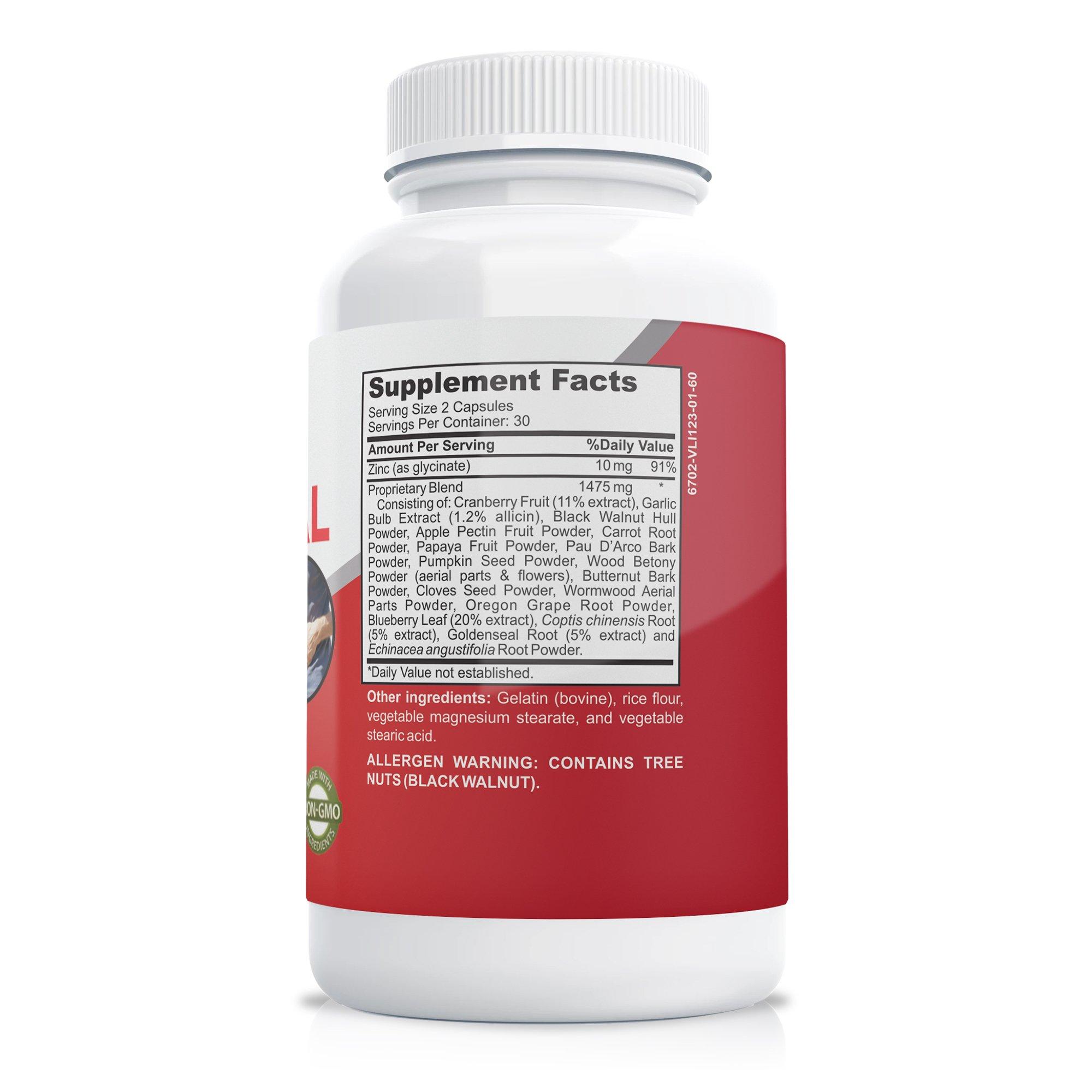 Intestinal Support 1475 mg + Zinc - 60 Caps (Non-GMO)