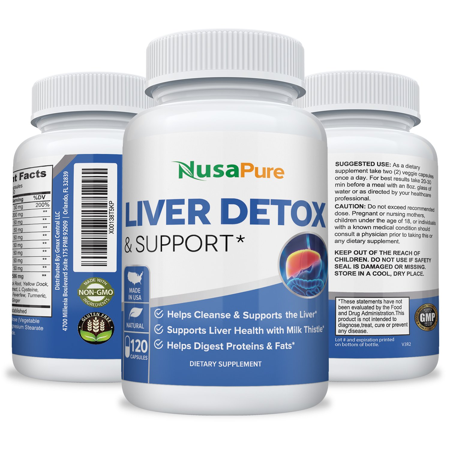 Liver Detox & Support  - 120 Veg Caps with Milk Thistle, Zinc, Turmeric ( Vegetarian & Non-GMO)