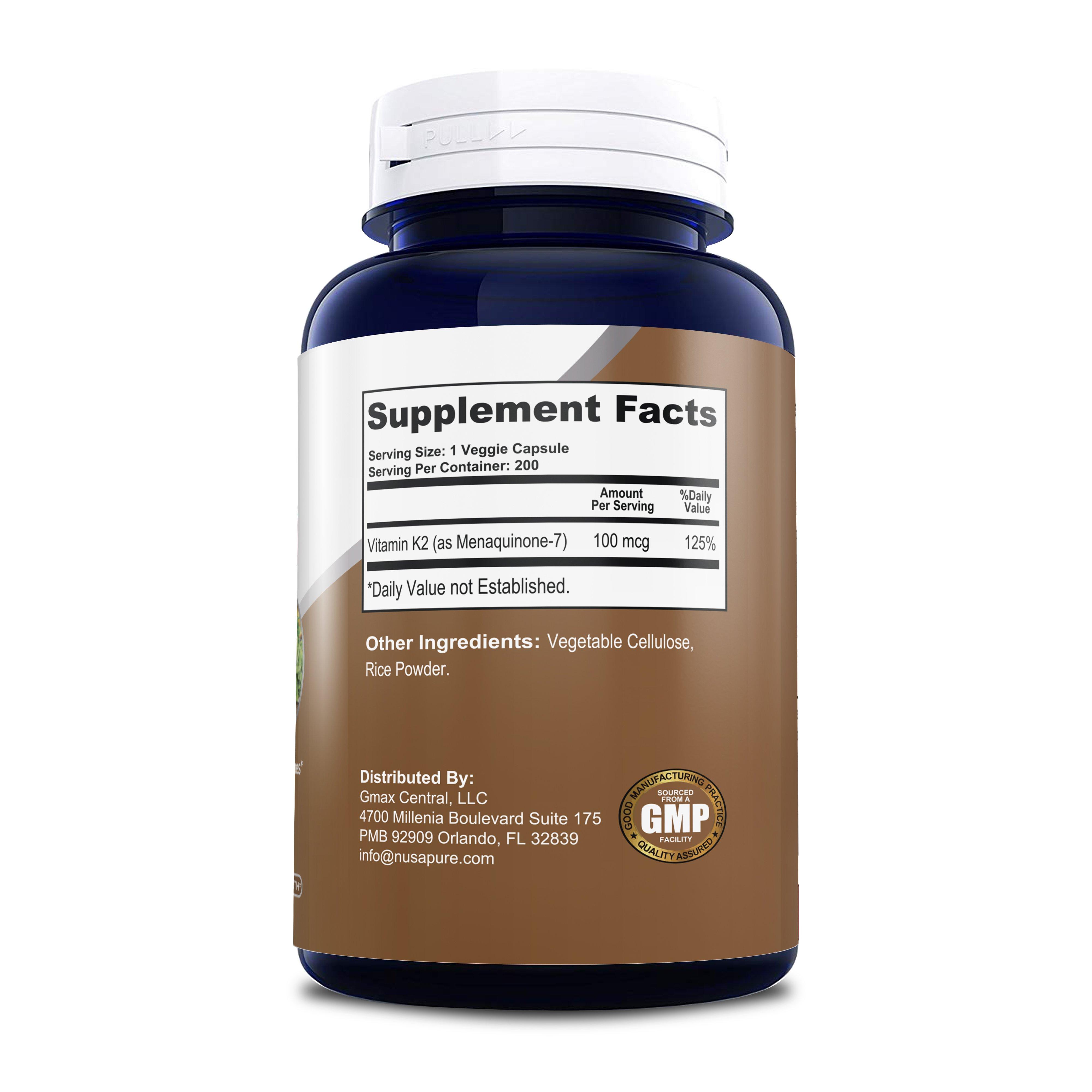 Vitamin K2/MK-7 100mcg - 200 Veg Caps (100% Vegetarian, Non-GMO & Gluten-free)