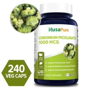 Chromium Picolinate 1000 mcg- 240 Veg Caps (100% Vegetarian, Non-GMO & Gluten-free)