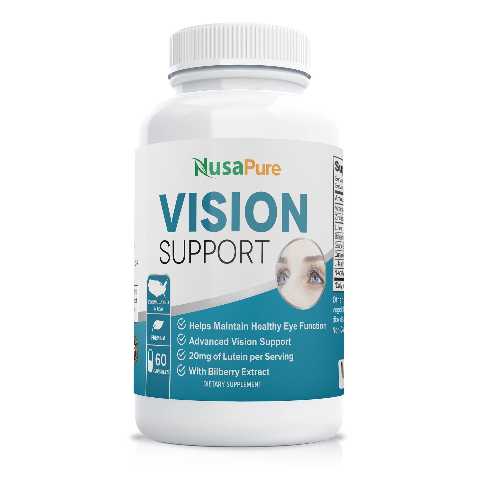 Vision Support with Vitamin A & Lutein - 60 Caps (Non-GMO)