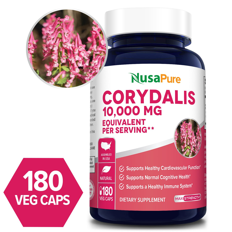 Corydalis 10,000 mg - 180 veggie caps (Vegan, Non-GMO, Gluten-free) -Supports healthy Cardiovascular functions*