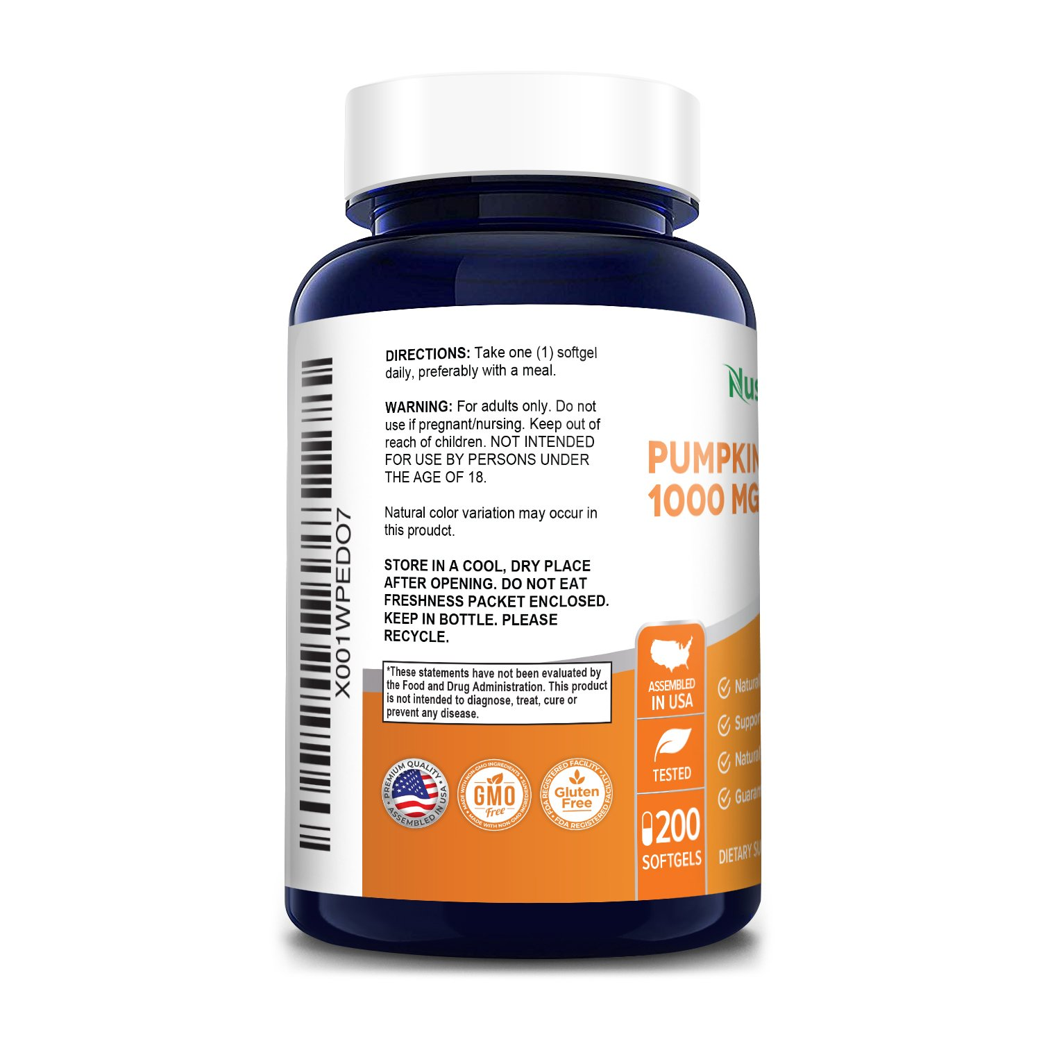 Pumpkin Seed Oil 1000mg 200 Softgel Capsules (Non-GMO, Gluten Free) Cold-Pressed - Fatty Acids - Great for Hair Growth, Prostate Health - Made in USA - 100% Money Back Guarantee!